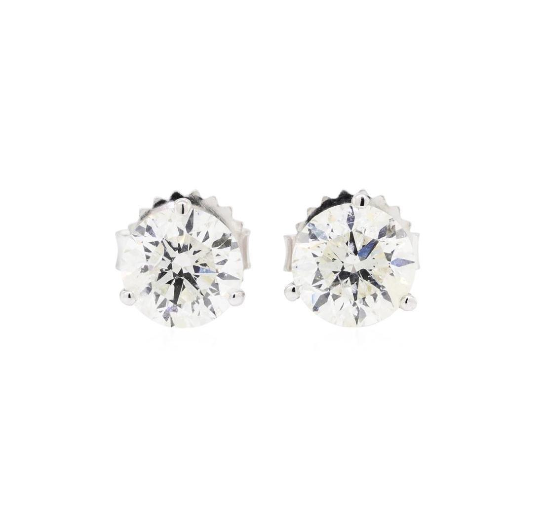 2.11 ctw Diamond Earrings - 14KT White Gold