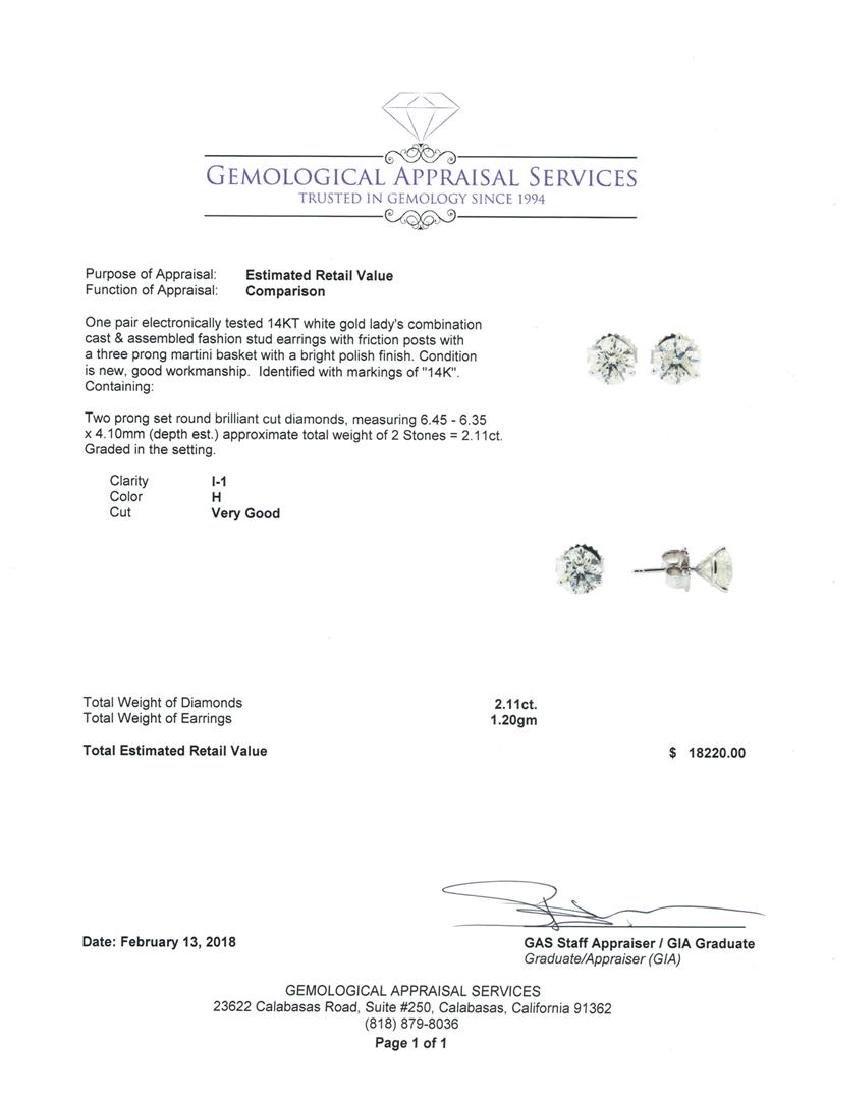 2.11 ctw Diamond Earrings - 14KT White Gold - 3