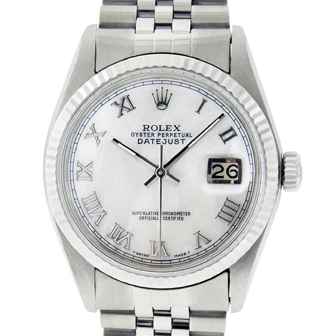 Rolex Mens Stainless Steel Mother Of Pearl Roman