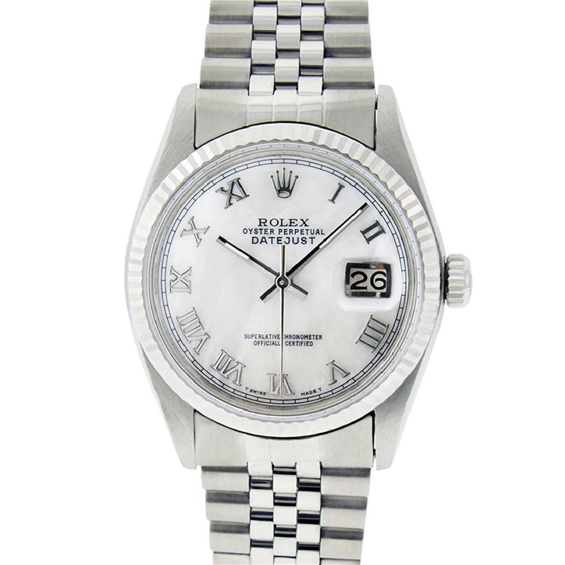 Rolex Mens Stainless Steel Mother Of Pearl Roman - 2