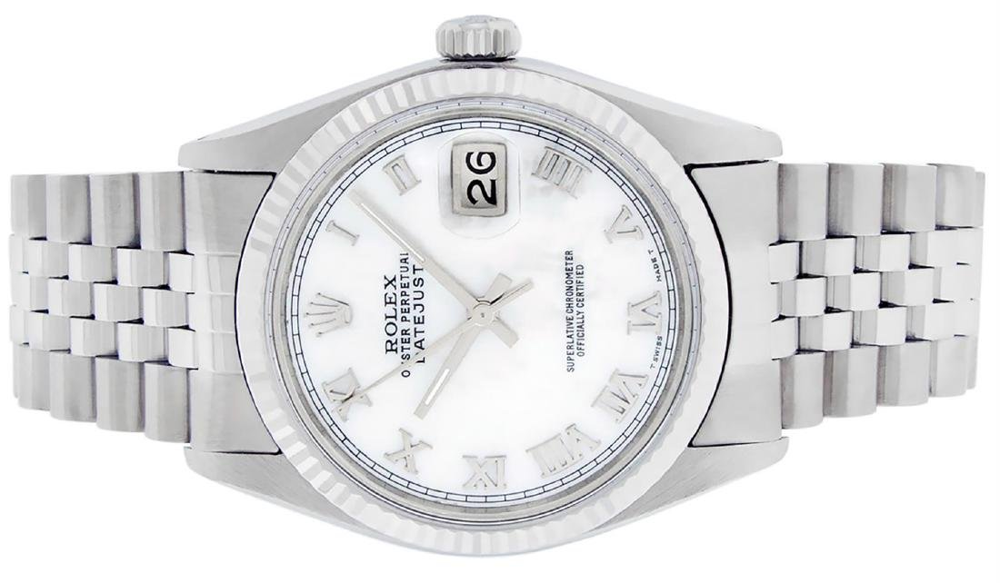 Rolex Mens Stainless Steel Mother Of Pearl Roman - 6