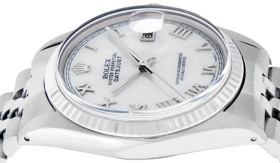 Rolex Mens Stainless Steel Mother Of Pearl Roman - 7