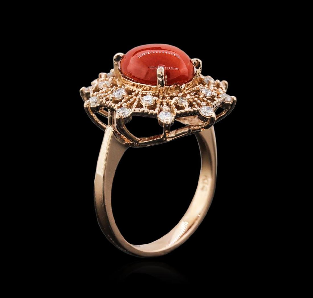 14KT Rose Gold 2.82 ctw Coral and Diamond Ring - 3