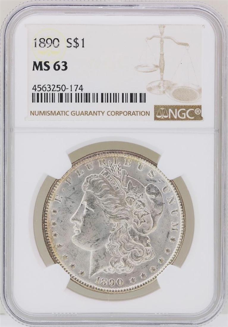 1890 $1 Morgan Silver Dollar Coin NGC MS63