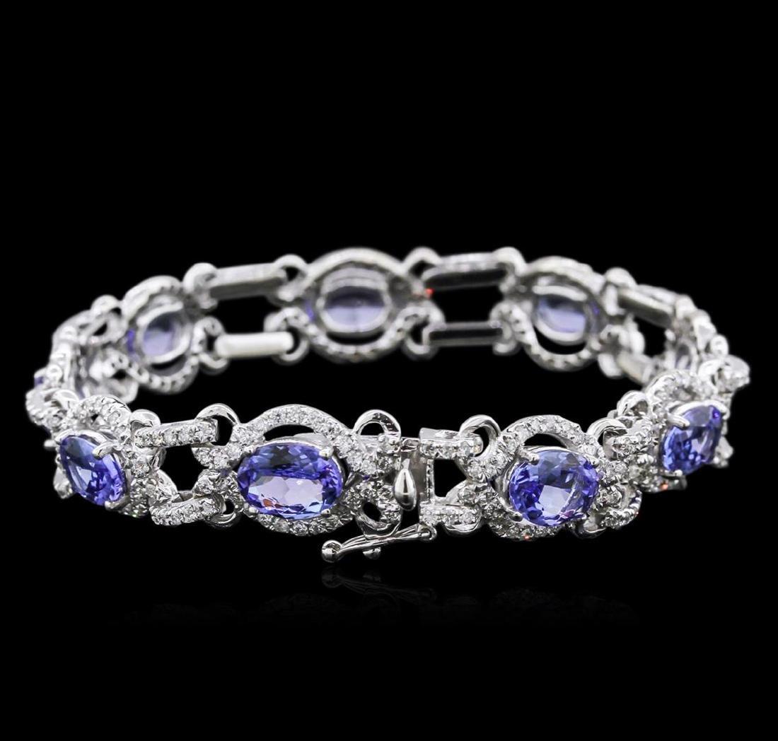 14KT White Gold 9.85 ctw Tanzanite and Diamond Bracelet - 2