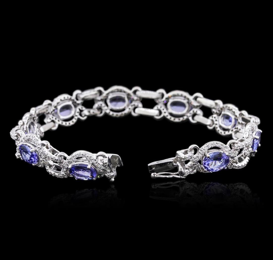 14KT White Gold 9.85 ctw Tanzanite and Diamond Bracelet - 3