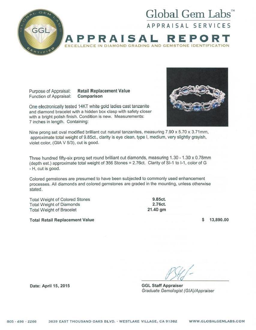 14KT White Gold 9.85 ctw Tanzanite and Diamond Bracelet - 4