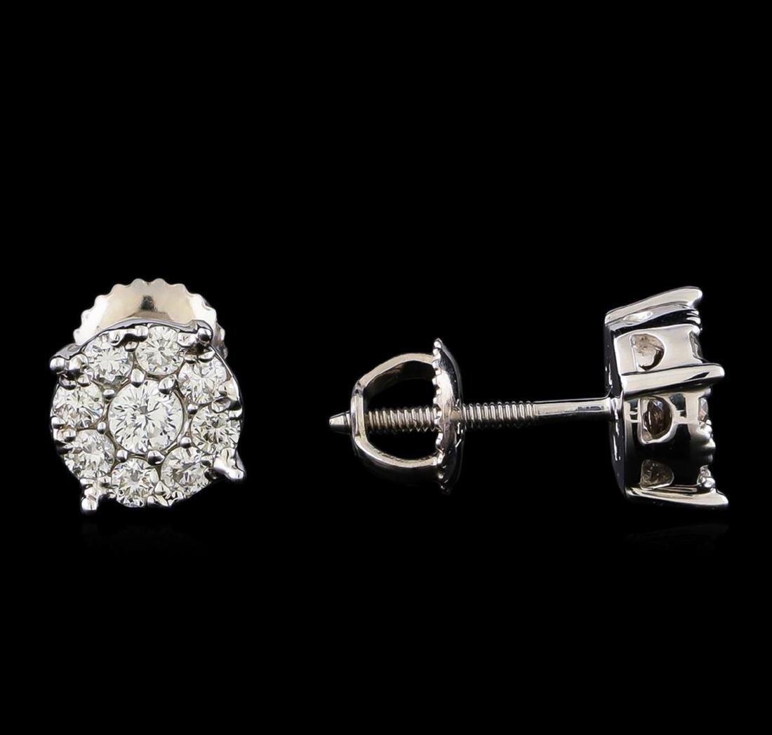 0.71 ctw Diamond Earrings - 14KT White Gold - 2