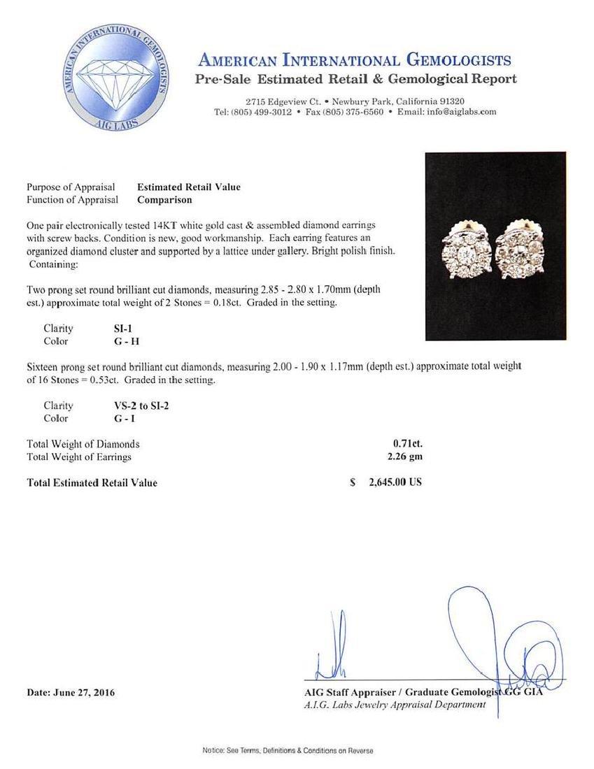 0.71 ctw Diamond Earrings - 14KT White Gold - 3
