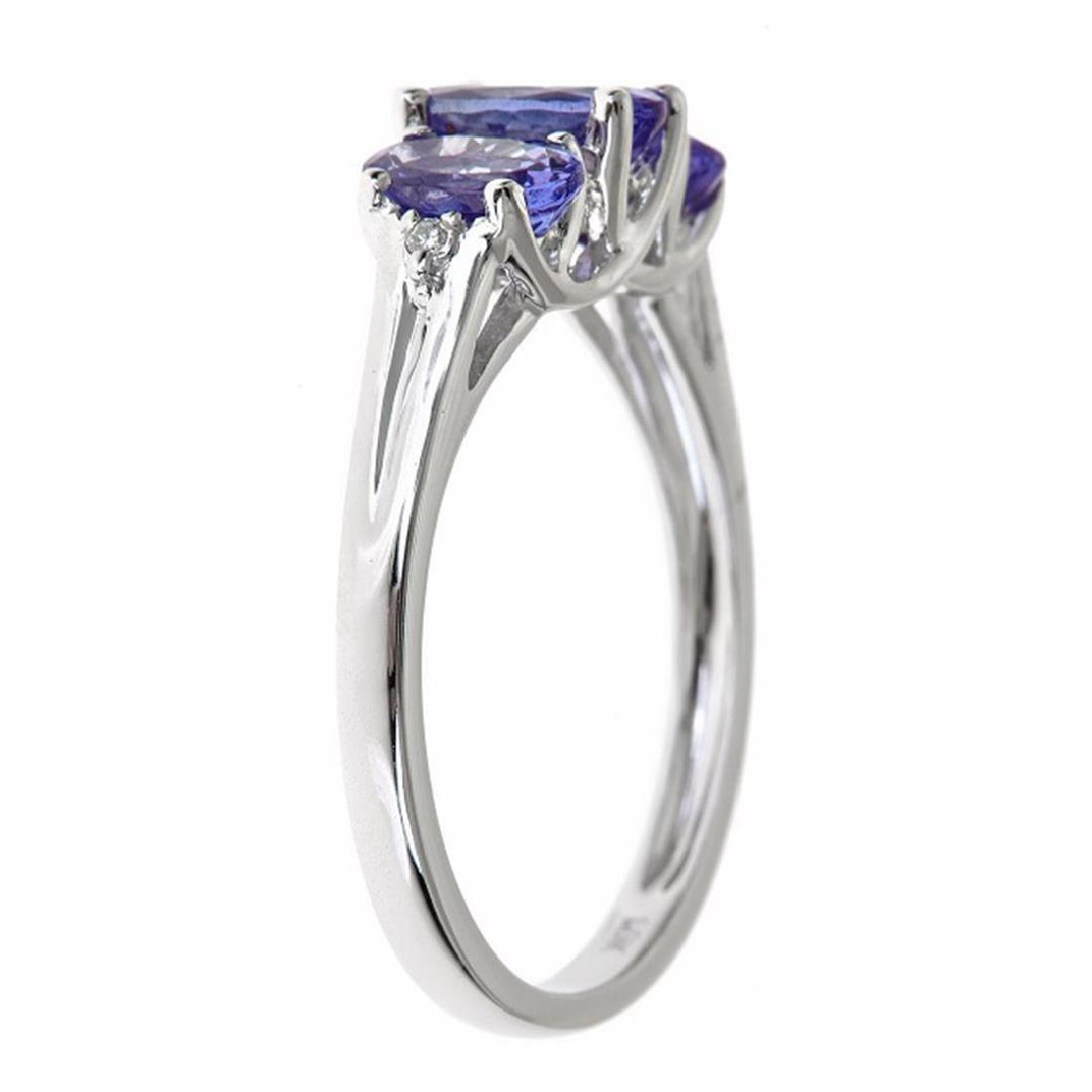 1.67 ctw Tanzanite and Diamond Ring - 10KT White Gold - 2