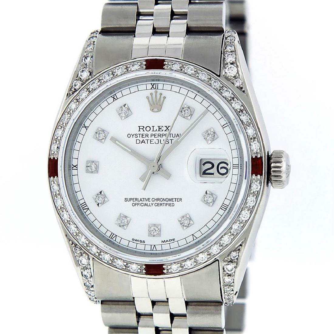 Rolex Mens Stainless Steel Diamond Lugs & Ruby Datejust