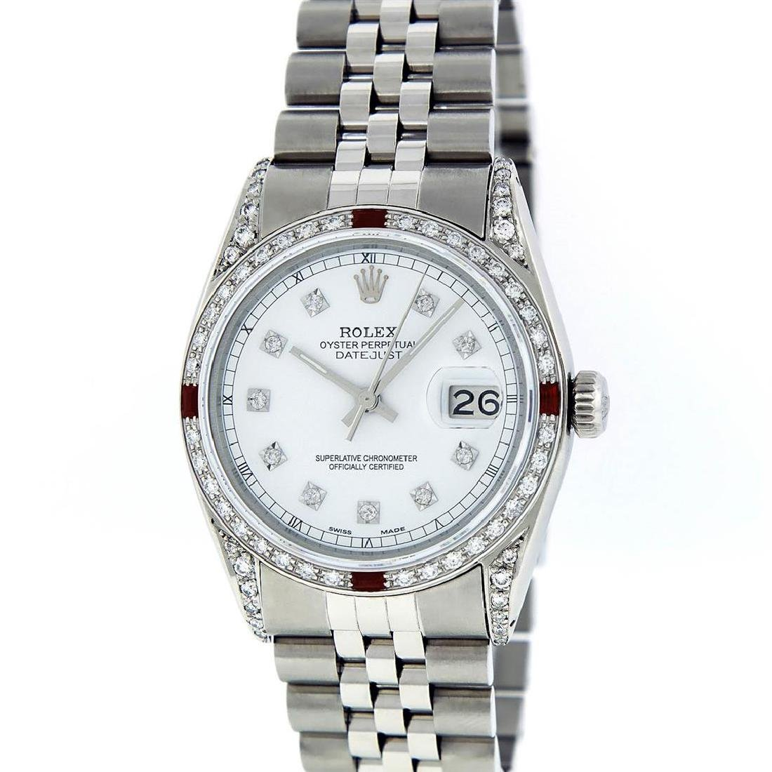 Rolex Mens Stainless Steel Diamond Lugs & Ruby Datejust - 2