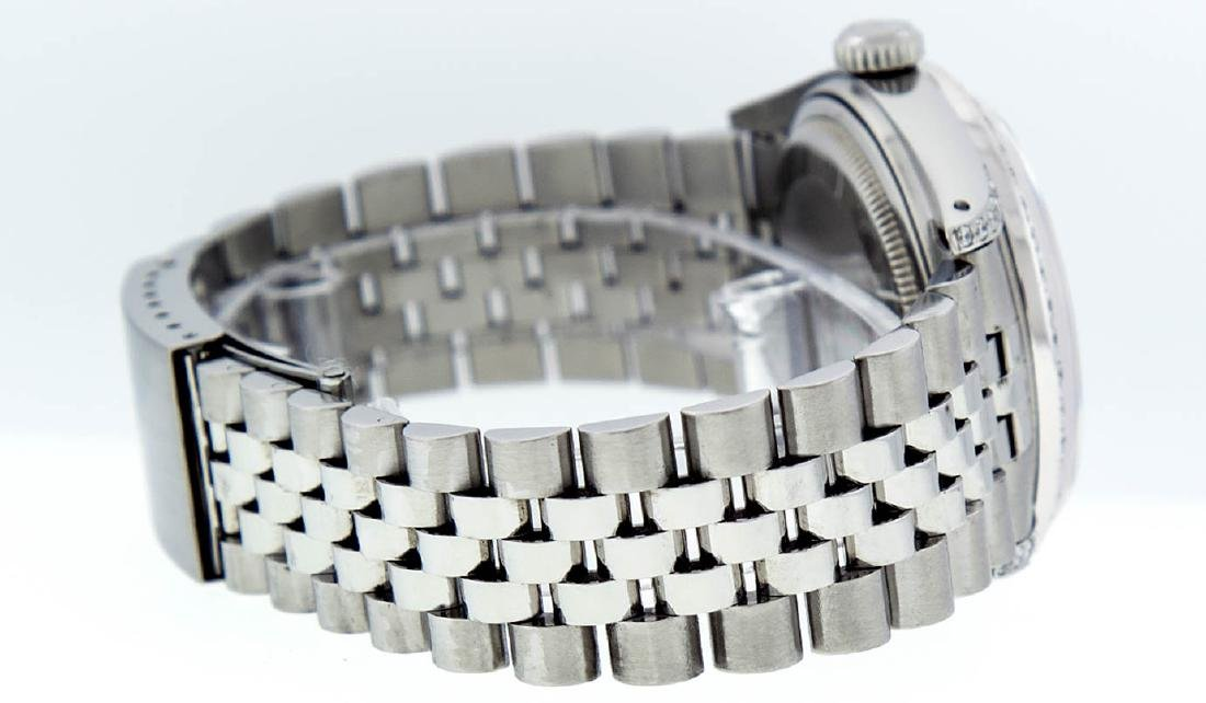 Rolex Mens Stainless Steel Diamond Lugs & Ruby Datejust - 3
