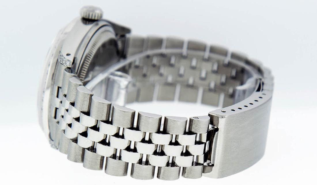 Rolex Mens Stainless Steel Diamond Lugs & Ruby Datejust - 7