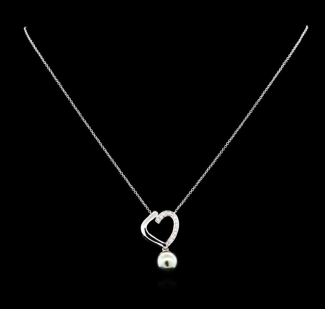0.19 ctw Pearl and Diamond Pendant - 14KT White Gold - 2