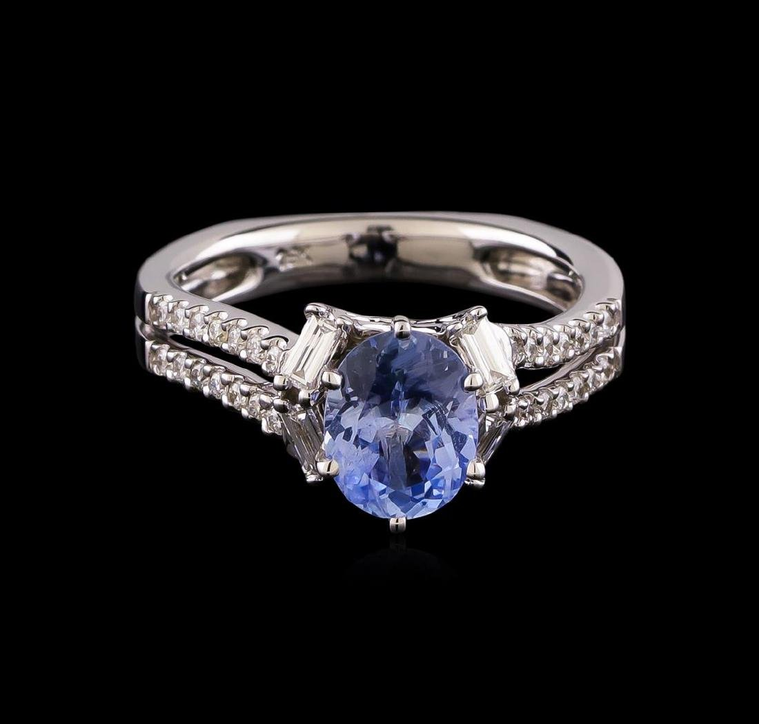 1.46 ctw Sapphire and Diamond Ring - 18KT White Gold - 2