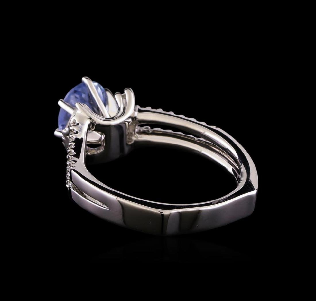 1.46 ctw Sapphire and Diamond Ring - 18KT White Gold - 3
