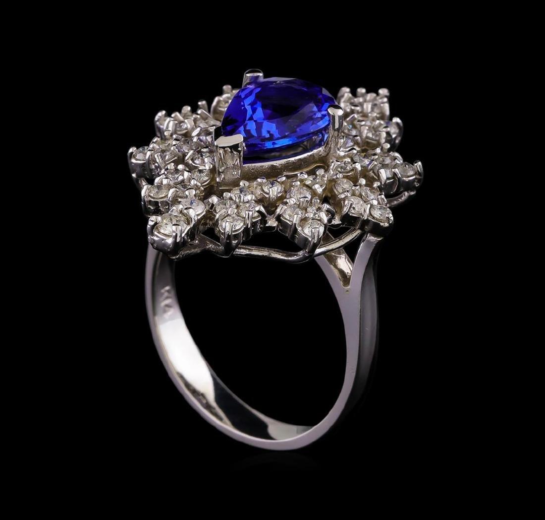 14KT White Gold 2.45 ctw Tanzanite and Diamond Ring - 4