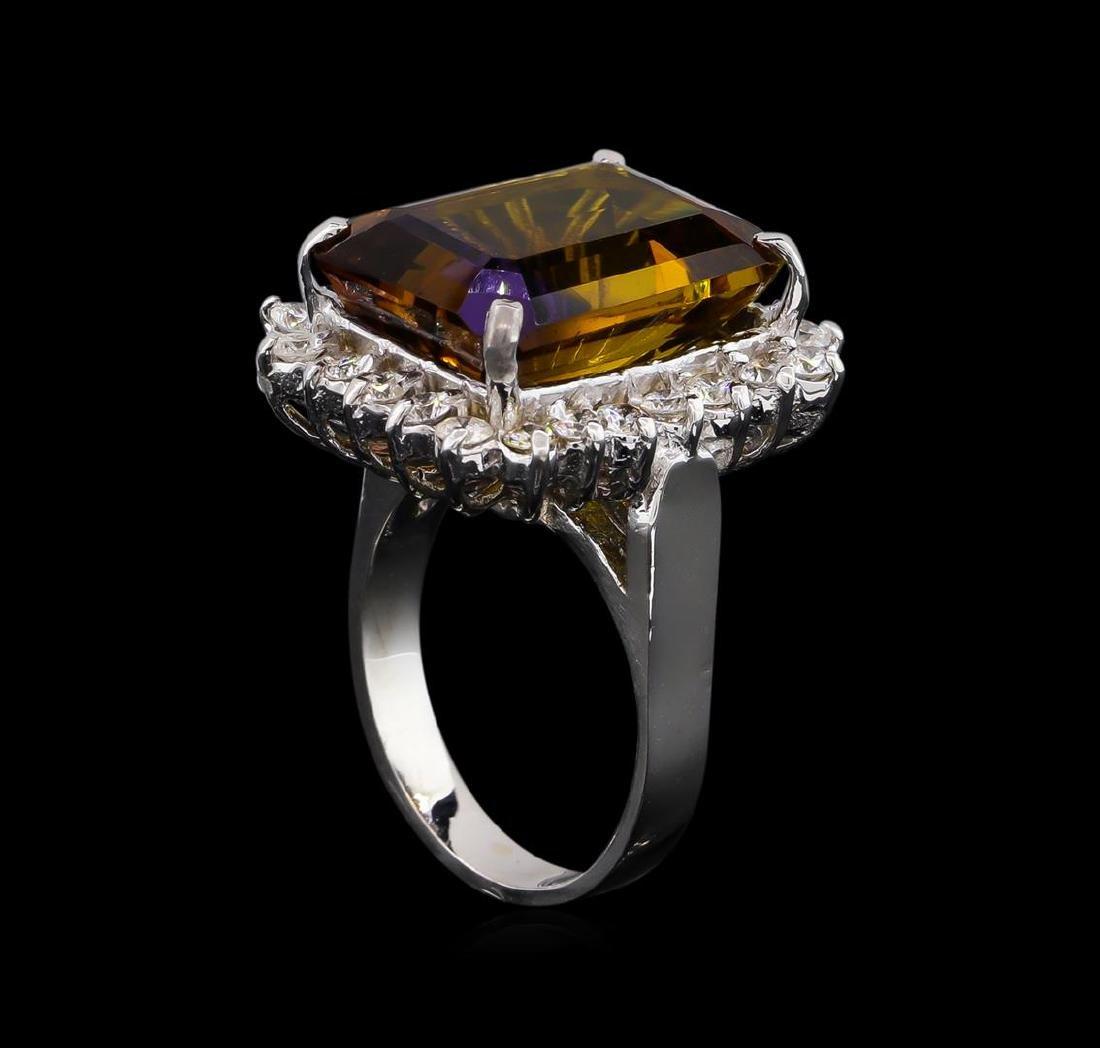 11.52 ctw Ametrine Quartz and Diamond Ring - 14KT White - 4