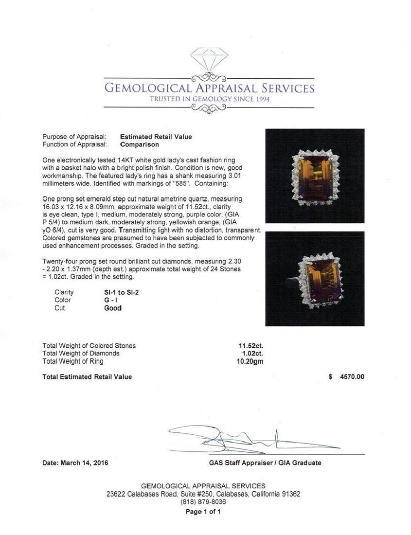 11.52 ctw Ametrine Quartz and Diamond Ring - 14KT White - 5
