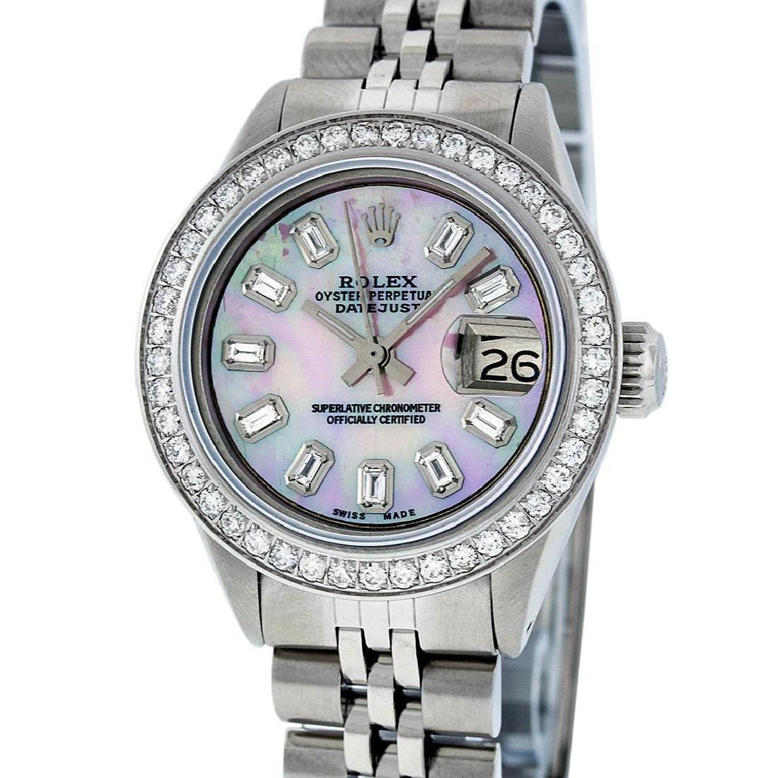 Rolex Ladies Stainless Steel Pink MOP Baguette Diamond