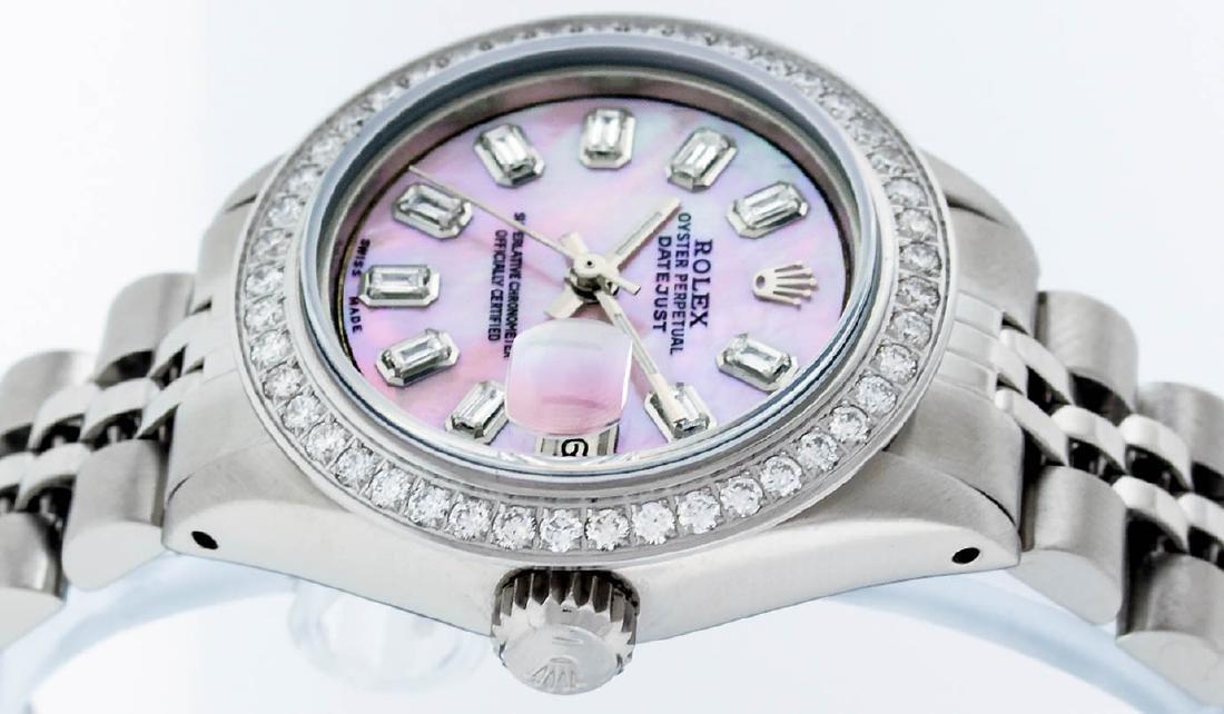 Rolex Ladies Stainless Steel Pink MOP Baguette Diamond - 2