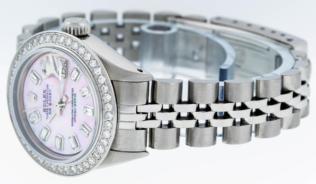 Rolex Ladies Stainless Steel Pink MOP Baguette Diamond - 4