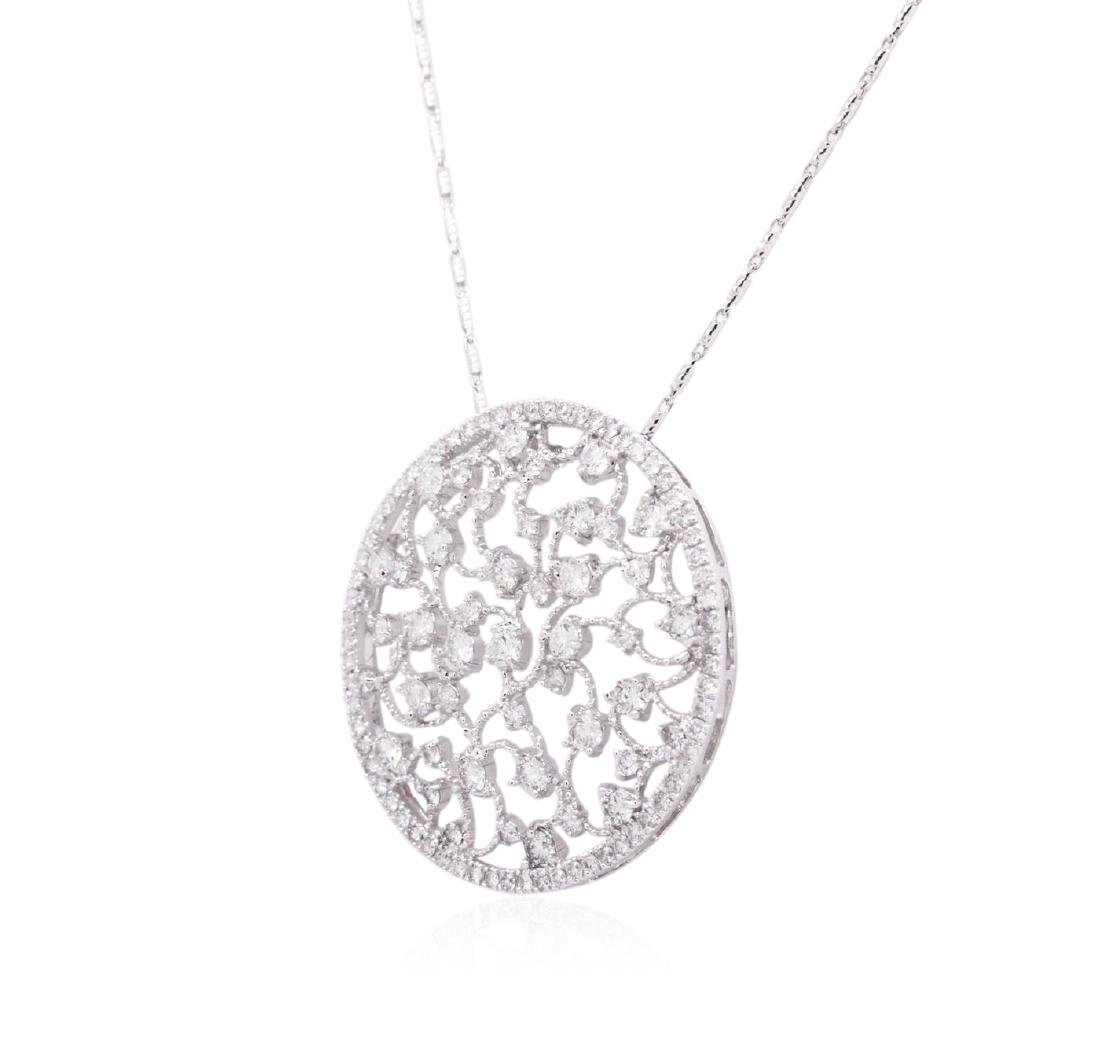 14KT White Gold 1.25 ctw Diamond Pendant With Chain - 3
