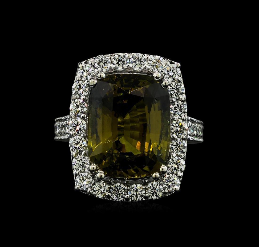 12.73 ctw Alexandrite and Diamond Ring - 14KT White - 2