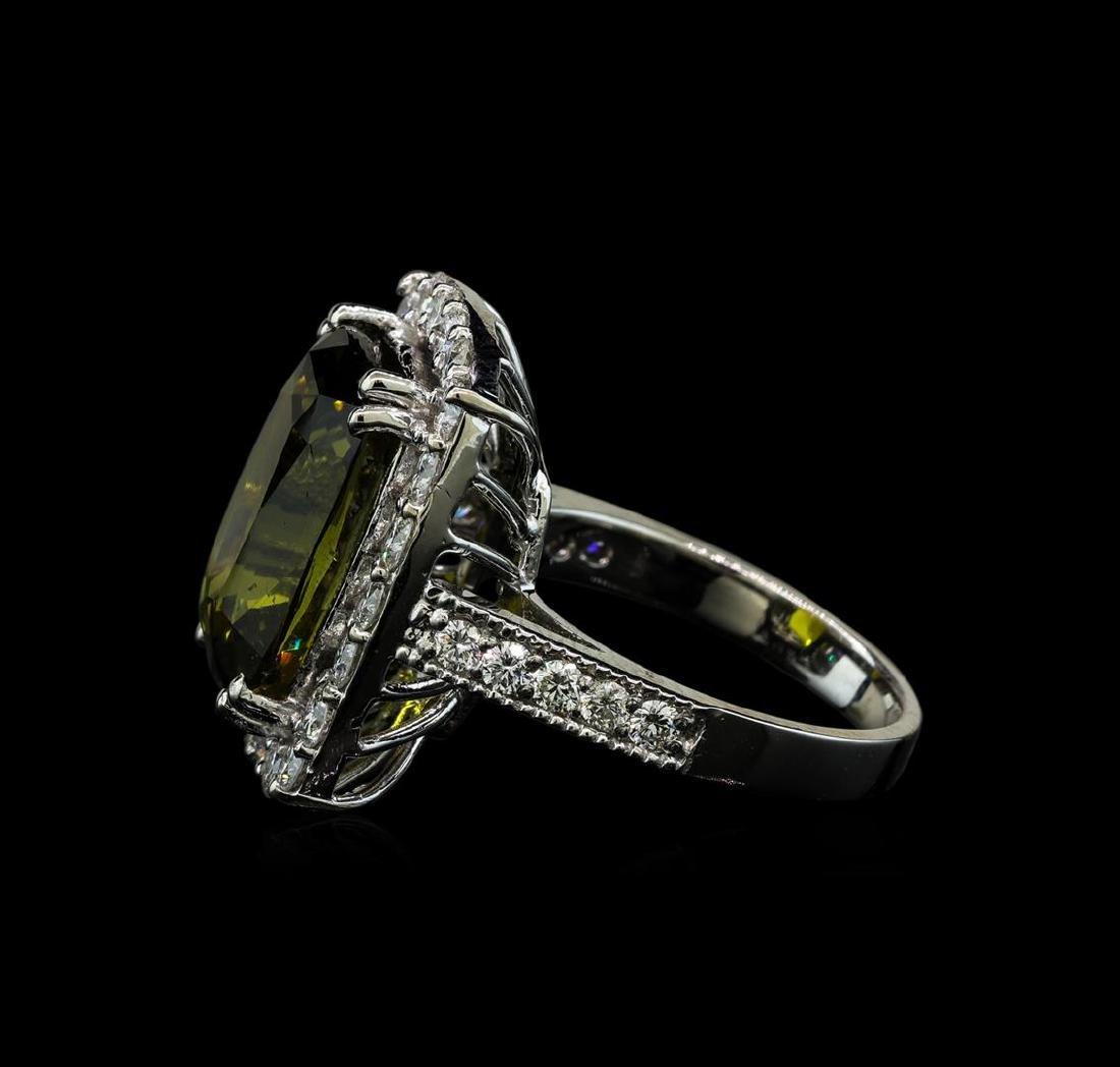 12.73 ctw Alexandrite and Diamond Ring - 14KT White - 3