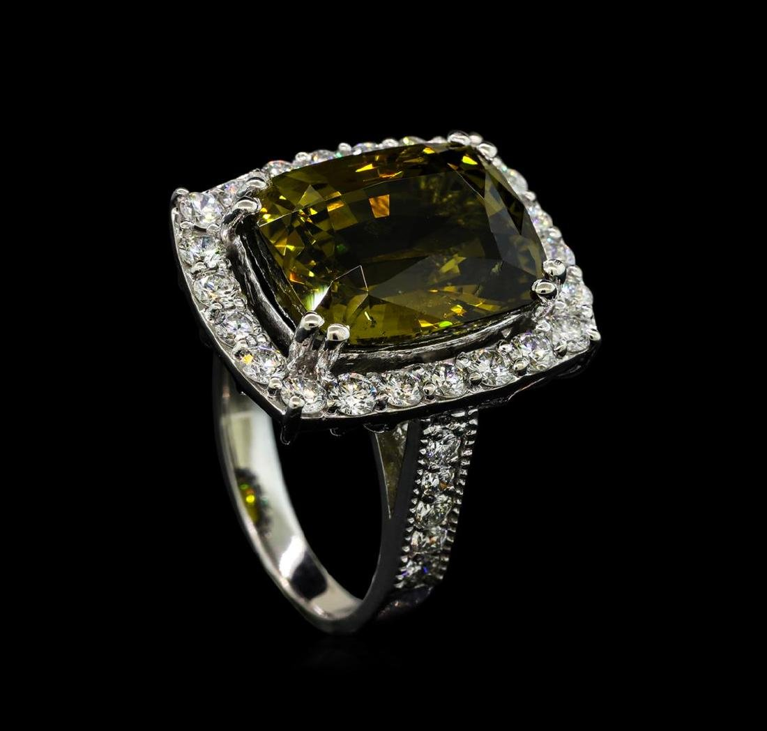 12.73 ctw Alexandrite and Diamond Ring - 14KT White - 4