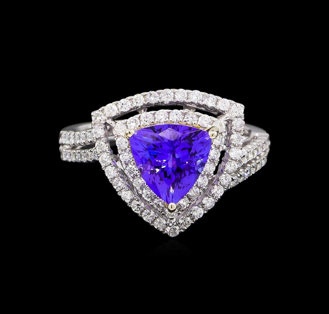 14KT Two-Tone Gold 2.25 ctw Tanzanite and Diamond Ring - 2