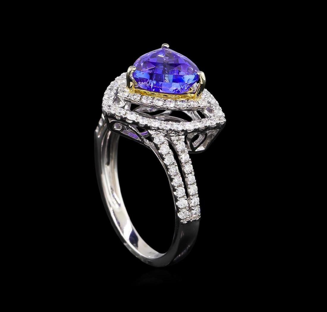 14KT Two-Tone Gold 2.25 ctw Tanzanite and Diamond Ring - 4