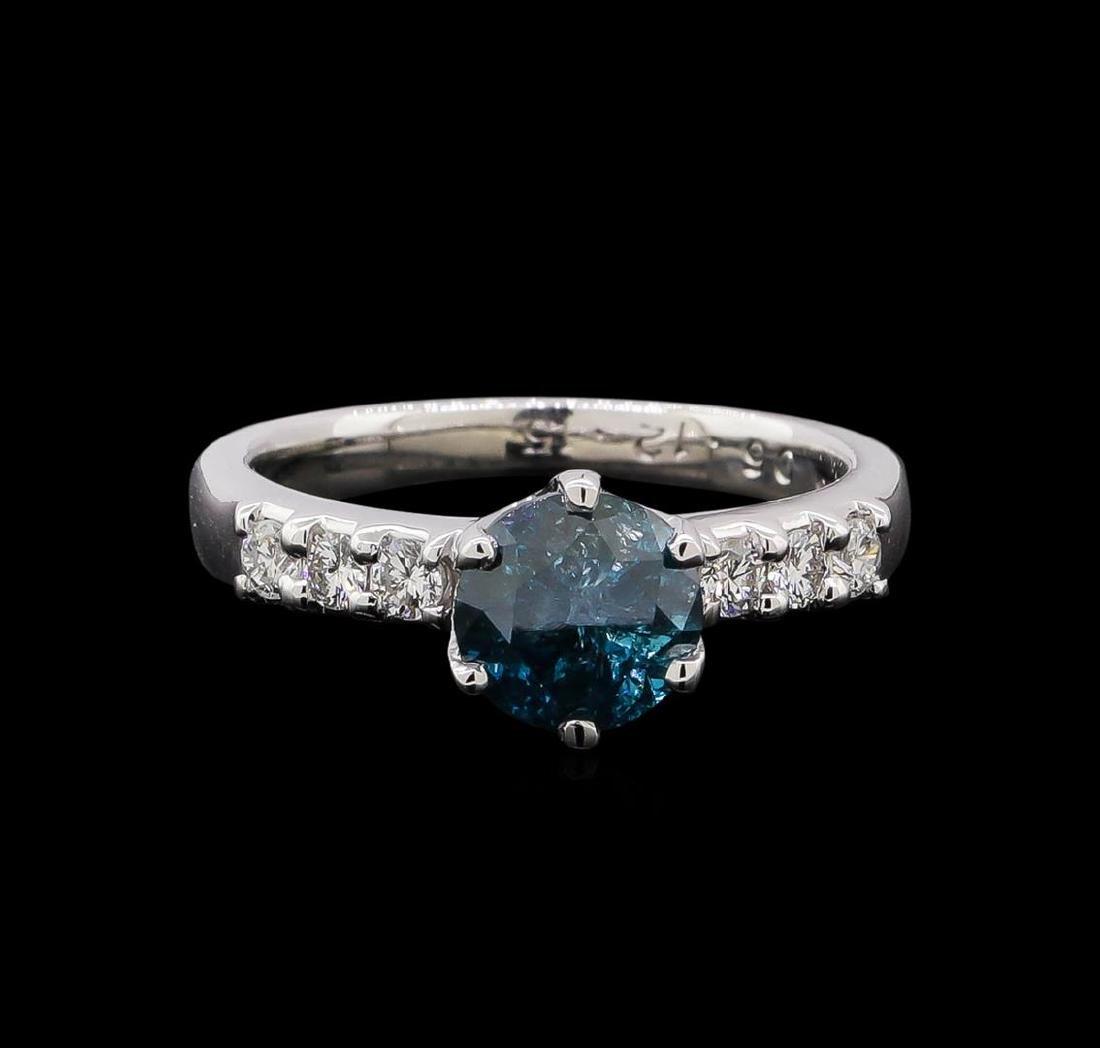 1.35 ctw Blue Diamond Ring - Platinum - 2