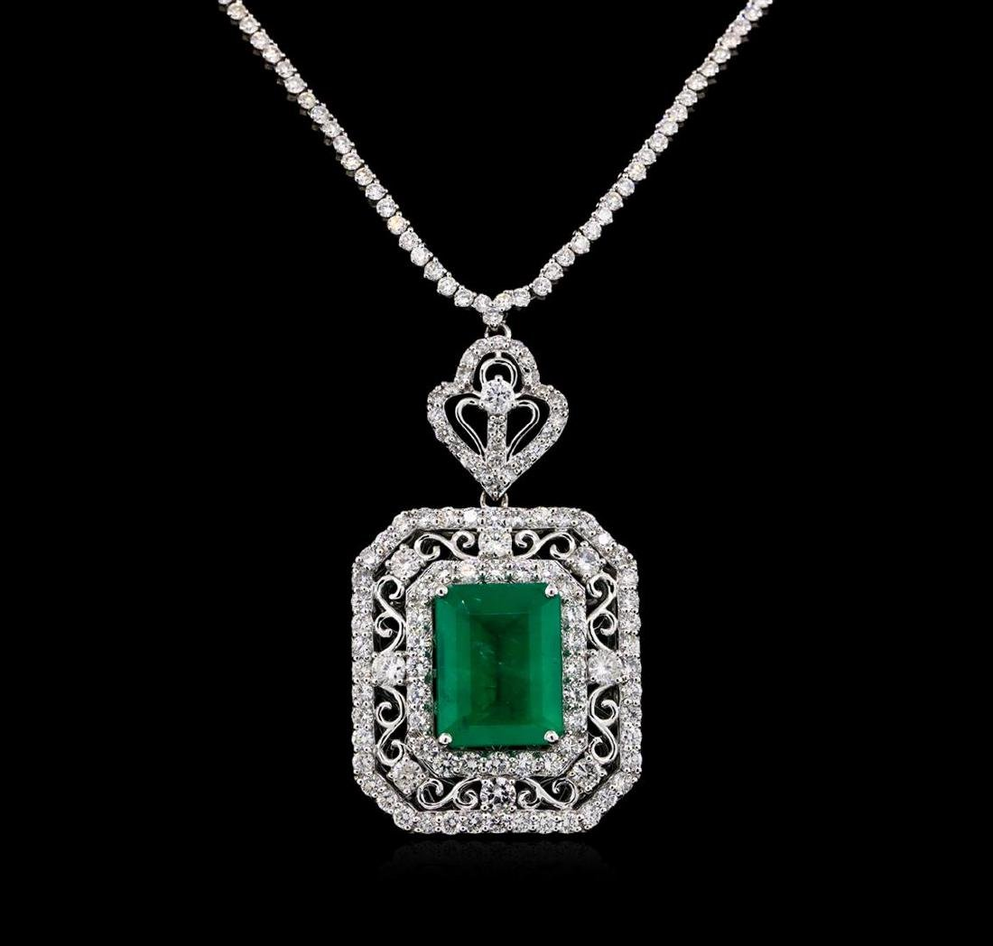 11.69 ctw Emerald and Diamond Necklace - 18KT White - 2