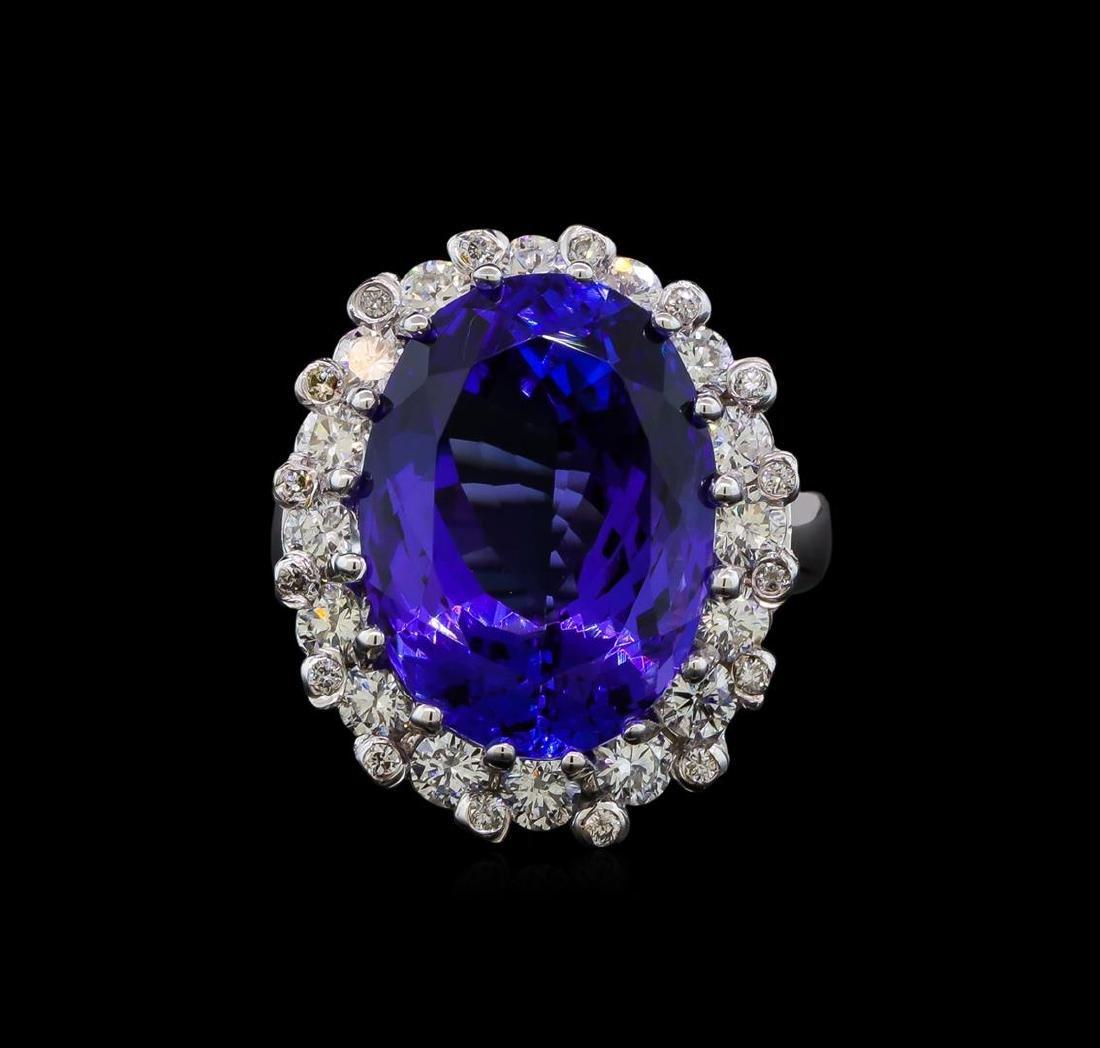 GIA Cert 16.07 ctw Tanzanite and Diamond Ring - 14KT - 2