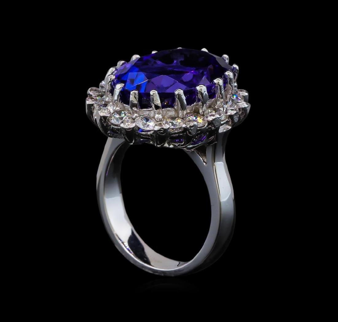 GIA Cert 16.07 ctw Tanzanite and Diamond Ring - 14KT - 4