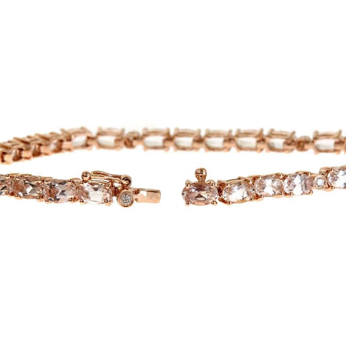 6.89 ctw Morganite and Diamond Bracelet - 14KT Rose - 2