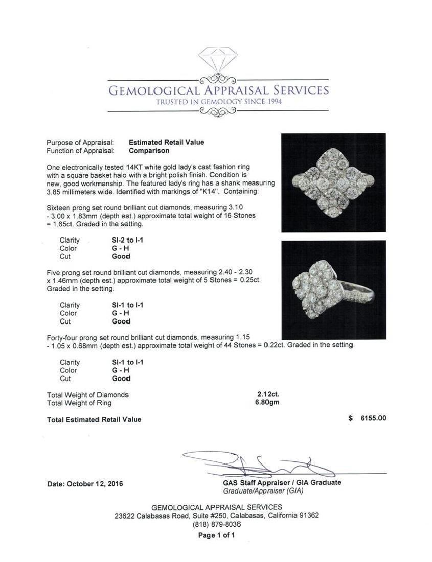 2.12 ctw Diamond Ring - 14KT White Gold - 5