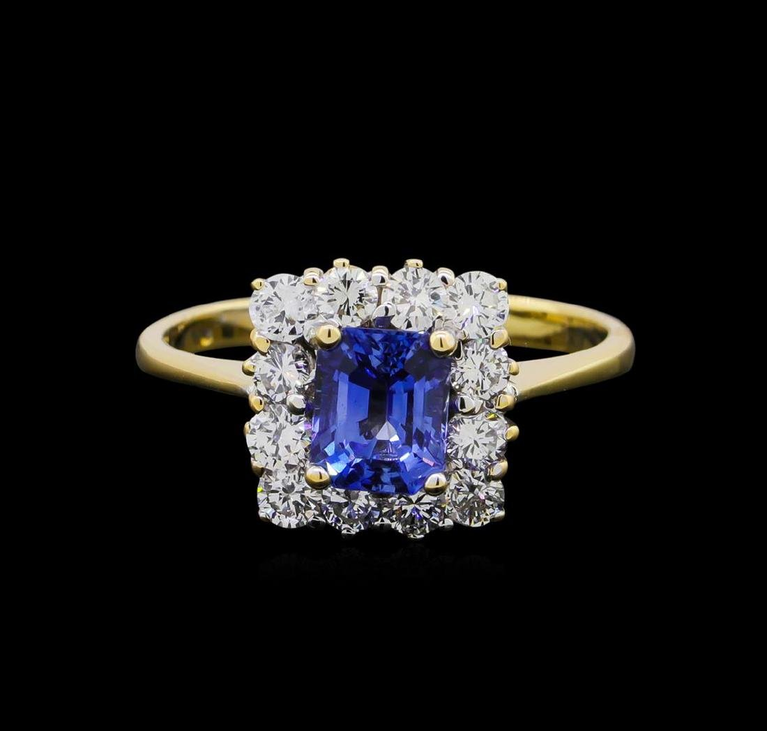 1.00 ctw Sapphire and Diamond Ring - 14KT White Gold - 2