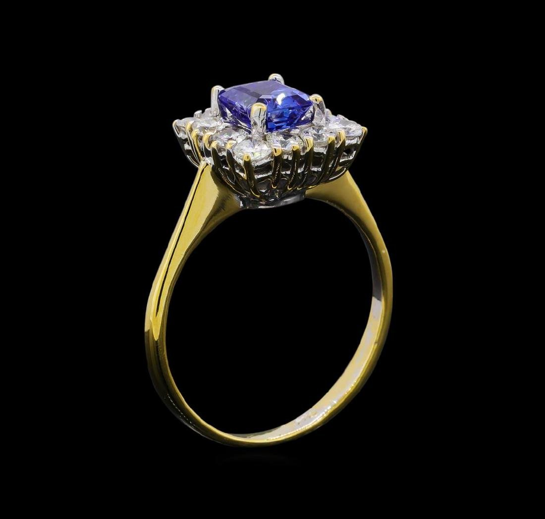 1.00 ctw Sapphire and Diamond Ring - 14KT White Gold - 4