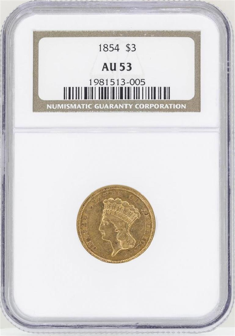 1854 $3 Indian Princess Head Gold Coin NGC AU53