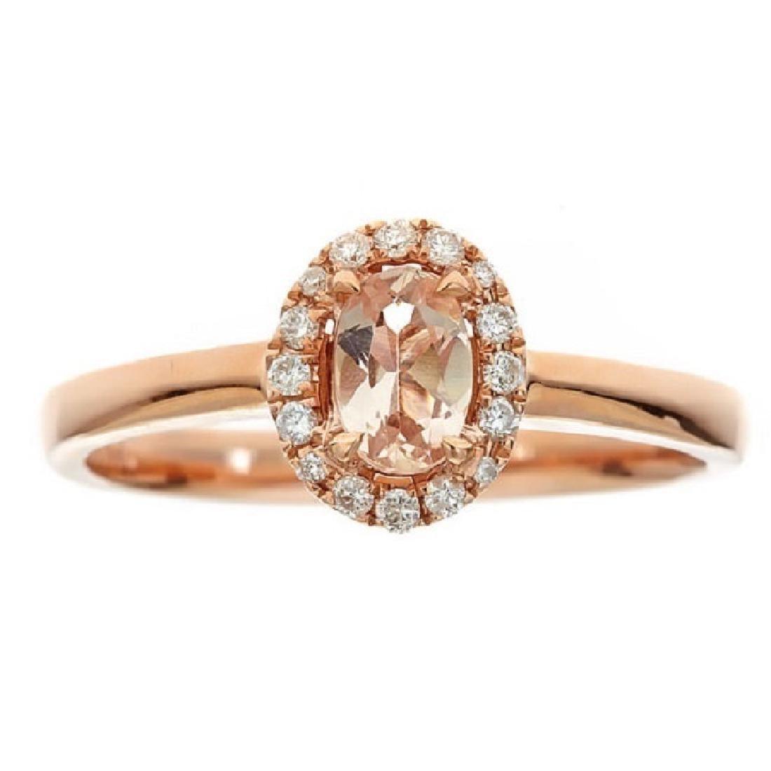 0.43 ctw Morganite and Diamond Ring - 10KT Rose Gold