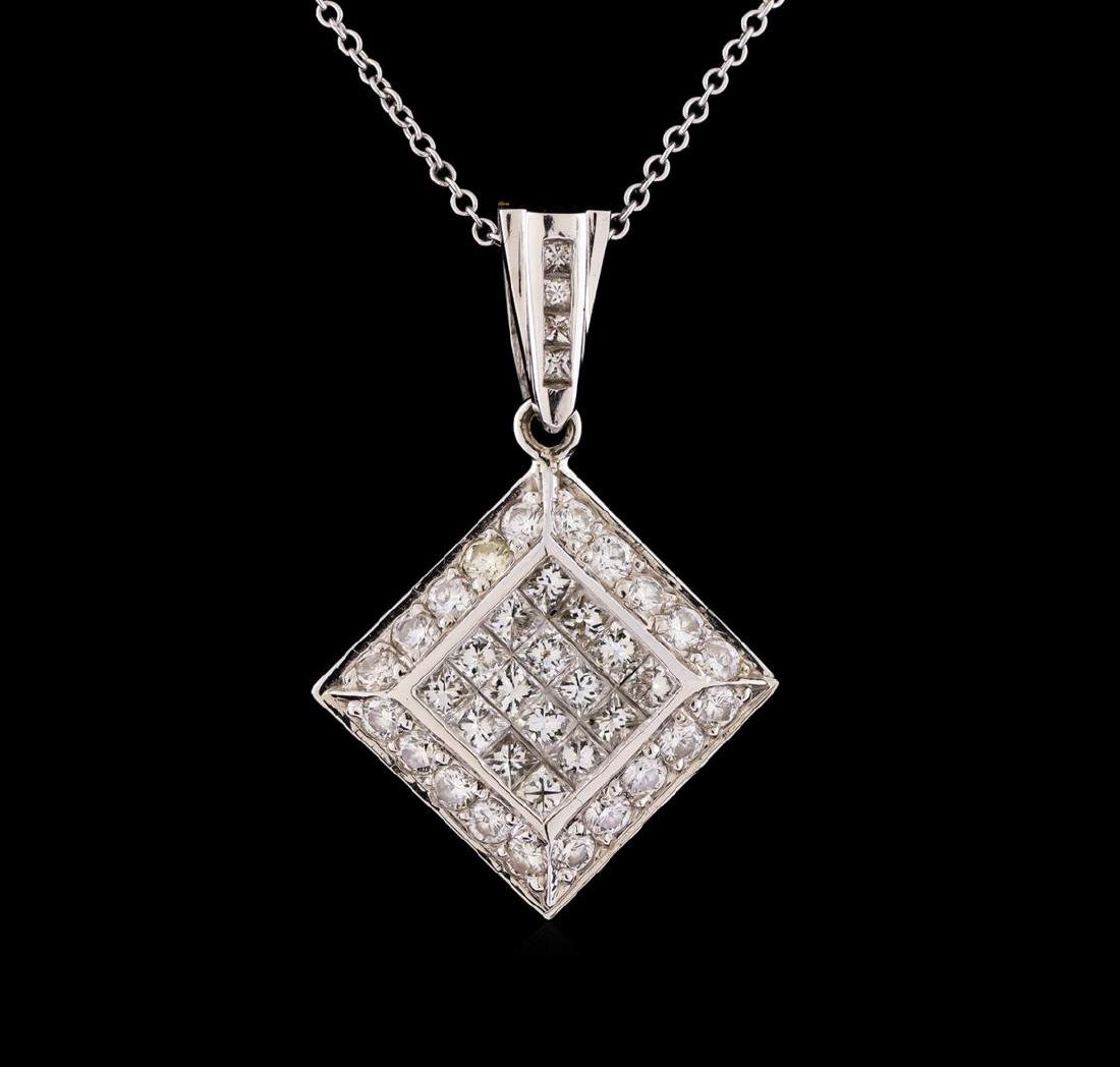 1.30 ctw Diamond Pendant With Chain - 14KT White Gold