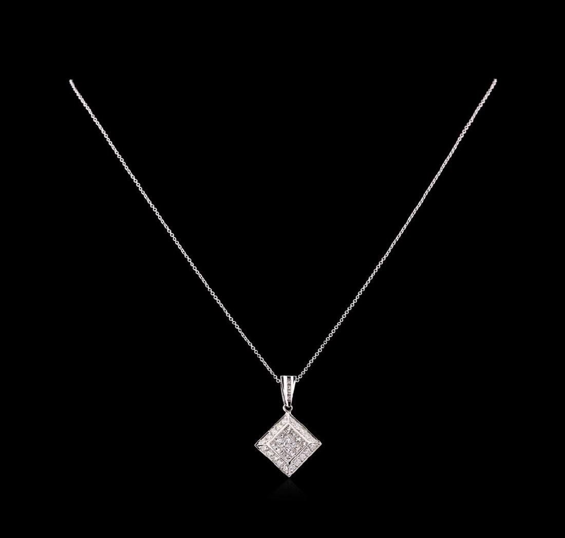 1.30 ctw Diamond Pendant With Chain - 14KT White Gold - 2