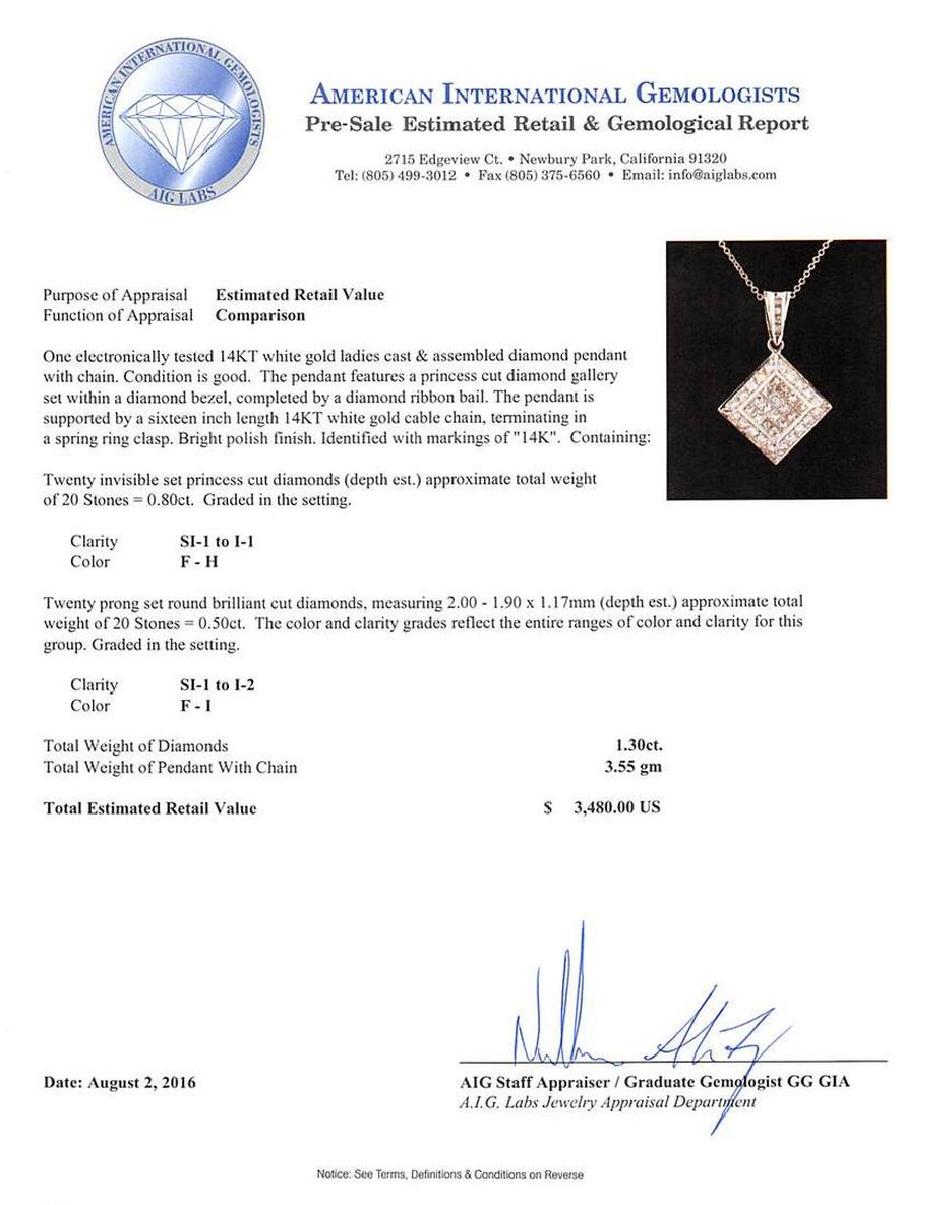 1.30 ctw Diamond Pendant With Chain - 14KT White Gold - 3