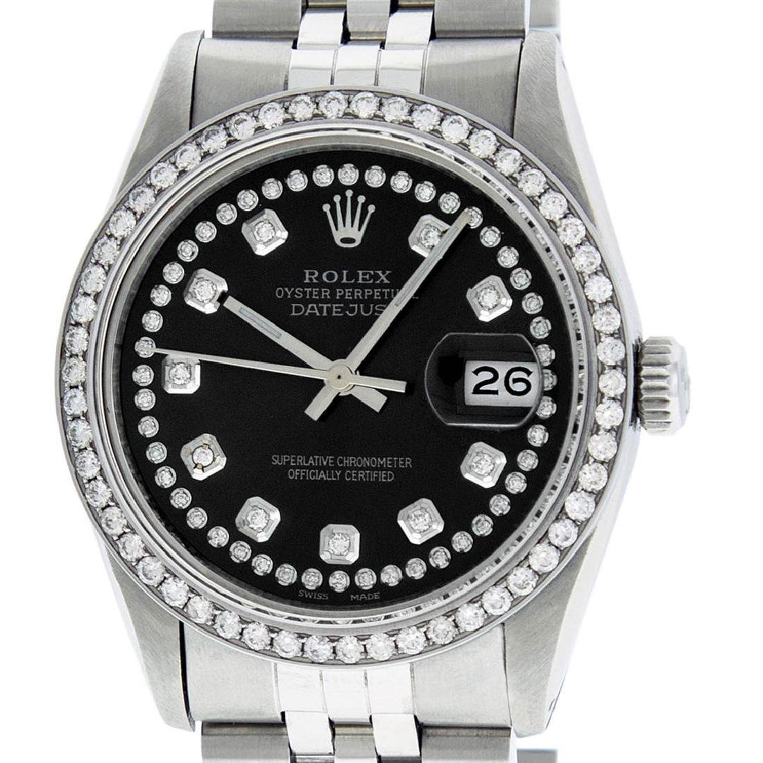 Rolex Mens Stainless Steel Black String Diamond 36MM