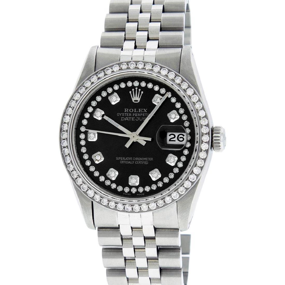 Rolex Mens Stainless Steel Black String Diamond 36MM - 2