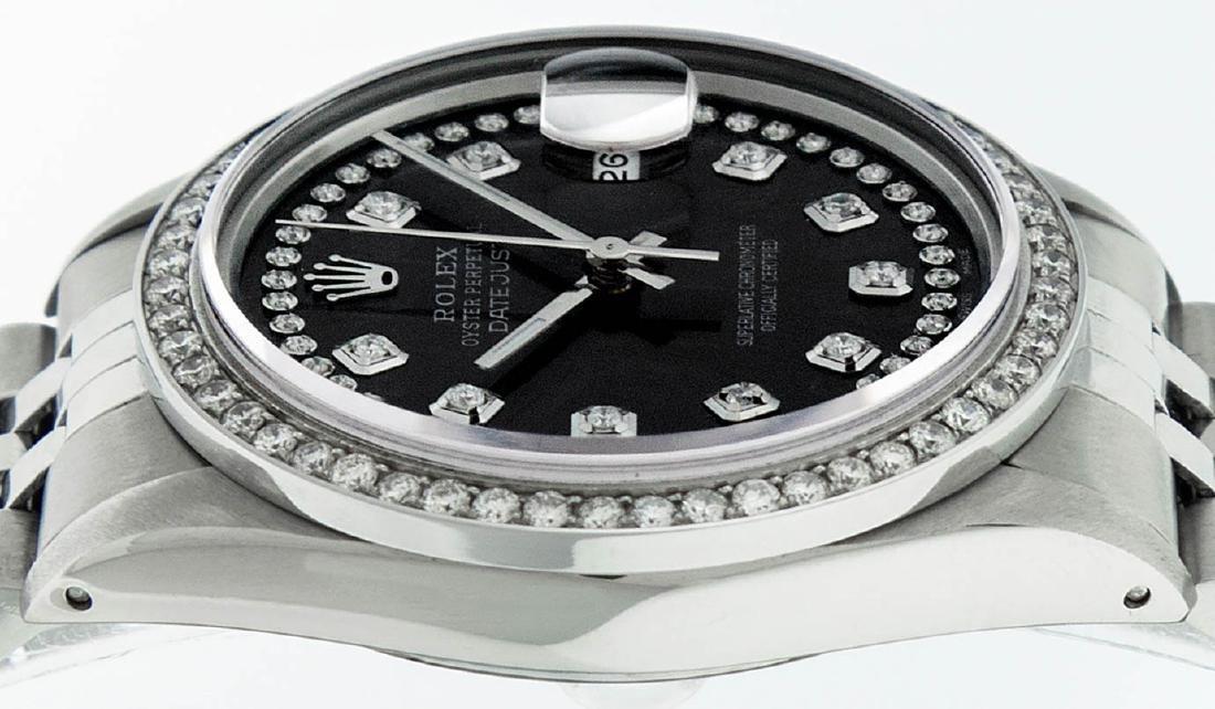 Rolex Mens Stainless Steel Black String Diamond 36MM - 3