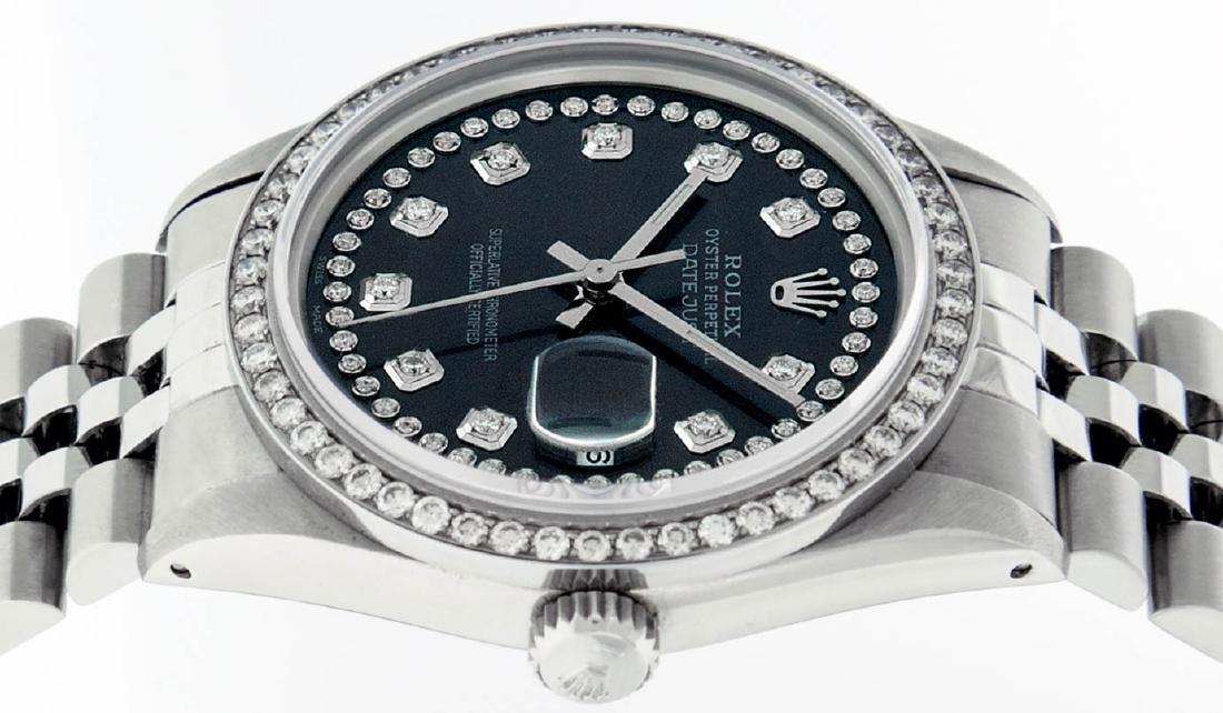 Rolex Mens Stainless Steel Black String Diamond 36MM - 4